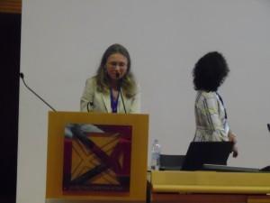 Barbara Rossi introducing Francesca Molinari